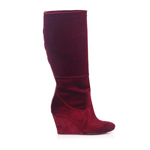 Burgundy Silky Velvet Wedge Heel Boot