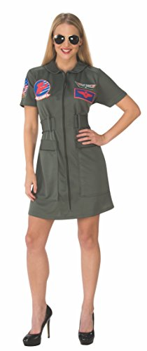 Rubie's Women's (Classic Movie) Deluxe Top Gun Costume Dress, As Shown, Small - Top Gun Family Costume