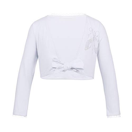 iEFiEL Kids Girls Front Knot Shrug Ballet Dress Sweater Cardigan Top White Cotton 8-10