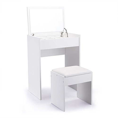 Tobbi Vanity Table and UpholsteredBench Set with Flip Top Mirror Drawer Jewelry Cabinet White Finish