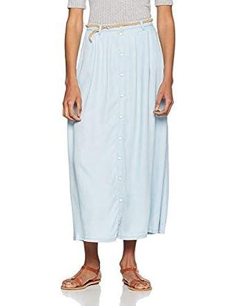Vero Moda Vmzoe NW Tencel Ankle Button Skirt Ga, Falda Mujer, Azul ...