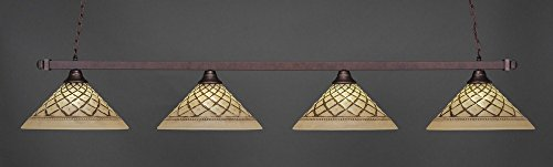 4-Light Square End Bar Lights w Chocolate Icing Glass Shades