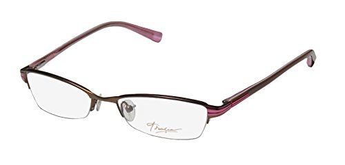 Thalia Benita Womens/Ladies Designer Half-rim Spring Hinges Eyeglasses/Glasses (53-17-135, Brown / - Glasses Half Rim Bottom