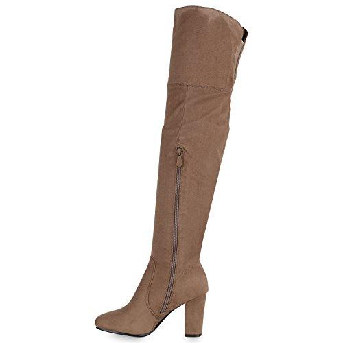 Stiefelparadies Damen Stiefel Langschaftstiefel Overknees Glitzer Schuhe Flandell Khaki Basic