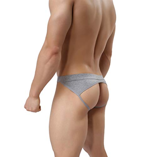 MuscleMate Premium Men's Jockstrap Men's Hot Thong Underwear Low Raise, Comfort, (M, Grey)