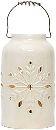 Amazon Com White Snowflake Stoneware Lantern Home Kitchen