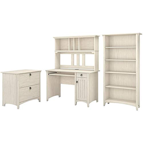 - Bush Furniture Salinas Mission Desk with Hutch, Lateral File Cabinet and 5 Shelf Bookcase in Antique White