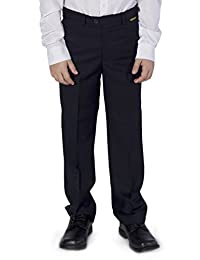 Azzurro Boys Flat Front Adjustable Waist Dress Pants