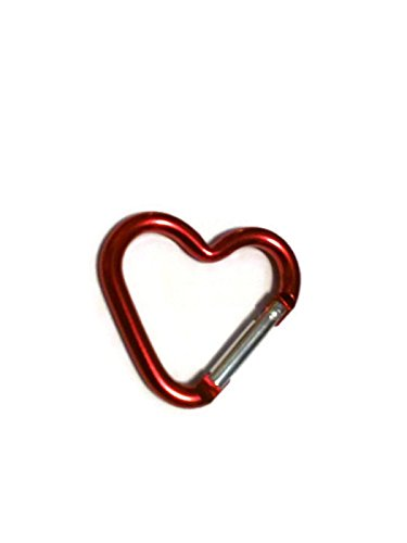 DarrellsWorld Red Heart Shaped Carabiner with Snap Clip Hook -
