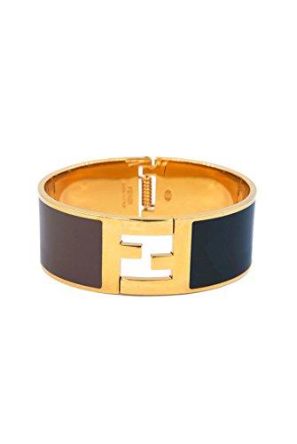 Fendi Signature FF Logo Click Clack Bangle Bracelet (Multiple Colors) (Black & Brown Medium)