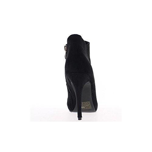 Bajo aspecto negro botas de gamuza tacón 11cm y bandeja