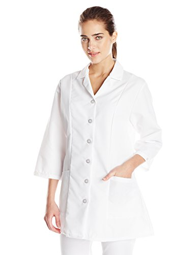 Red Kap Women's Plus Size Fitted 3/4 Sleeve Smock Blouse, White, XX-Large