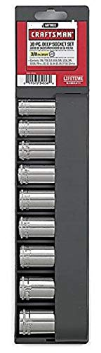 Craftsman 9 pc 12 pt. Deep, 3/8 in. Socket Accessory Set - Metric, Includes 10MM, 12MM, 13MM, 14MM, 15MM, 16MM, 17MM, 18MM & 19MM Deep Socket -