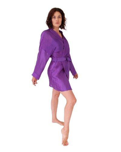 Seda corto kimono mezcla morado