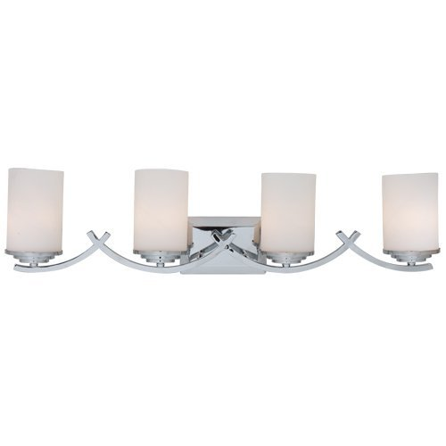 Y Decor L4090-4V-CH Modern, Transitional, Traditional 4 Light Bathroom Vanity Light Chrome Finish with White Glass Shade By Y Décor, , Chrome, (Chrome Finish 4 Bulbs)