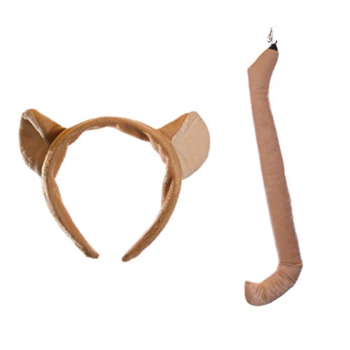Wildlife Tree Plush Mountain Lion/Cougar Ears Headband and Tail Set for Cougar Costume, Cosplay or Safari Party Costumes]()