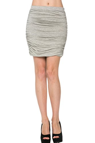 2LUV Women's Dressy Ruched Bodycon Mini Skirt Heather Gray S (Pencil Back Skirt Ruched)