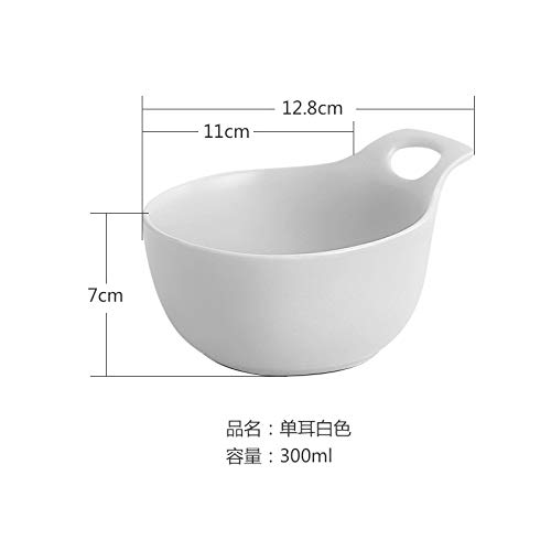 (Ceramic plate Western dish single ear plate pasta Japanese style dish shallow mouth plate salad ins tableware 12.8x7cm white)