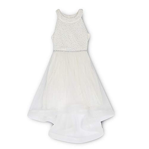 Speechless SC436D02H908 Sparkle Waist Party Wide Ribbon Hem Special Occasion Dress, 14, Ivory -