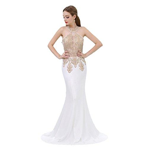 Besswedding Robes De Bal De La Femme Robe De Soirée Licol Long Chifffon Sexy Ivoire Sirène
