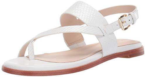 Cole Haan Women's Anica Thong Sandal Flat, Optic White Snake Print 9 B US (Thong White Leather)