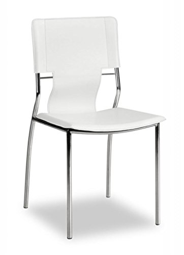 Modern Contemporary Dining Chair, White Leatherette Chrome Steel (set of four)