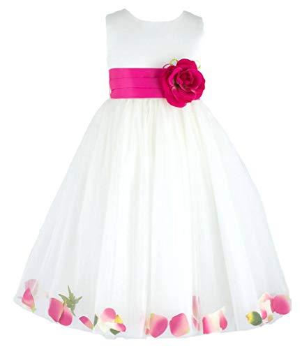 Wonder Girl Blossom Big Girls' Tulle Satin Tea Length Dress 10 Ivory Fuchsia - Tea Girl Blossom