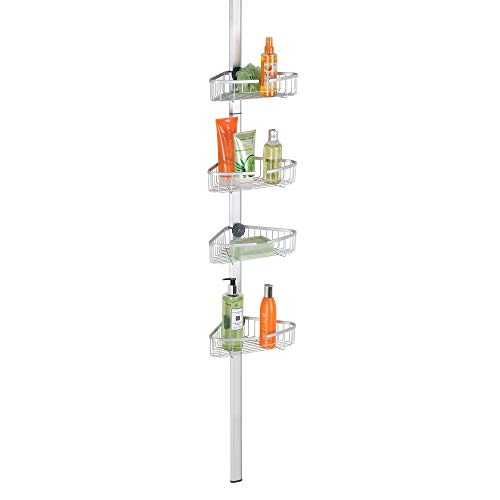 mDesign Aluminum Bathroom Shower Storage Constant Tension Corner Pole Caddy - Adjustable Height - 4 Positionable Baskets - for Organizing and Containing Hand Soap, Body Wash, Razors - Silver
