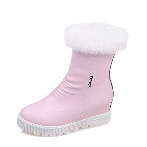 AllhqFashion Damen Reißverschluss Rund Zehe Mittler Absatz Weiches Material Stiefel, Weiß, 36