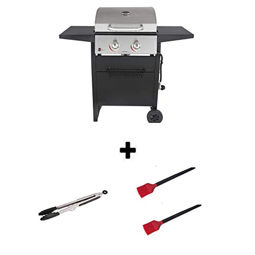 Durable Outdoor Barbeque & Burger Gas/Charcoal Grill (2-Burner Gril + Freebie, Stainless Steel)