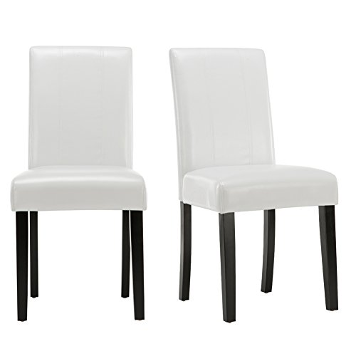 Andeworld Set of 2 Upholstered Dining Chairs High Back Padded Kitchen Chairs with Wood Legs (Leather White)