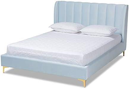 Baxton Studio Saverio Modern Velvet Upholstered Queen Platform Bed