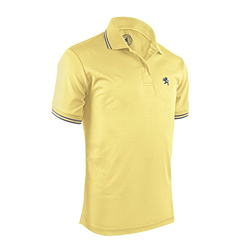 Albert Morris Polo Shirt for Men - Yellow Striped, Large - Short Sleeve (Yellow Striped Polo)