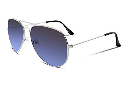 FEISEDY Retro Aviator Sunglasses Gradient Lens Men Women Brand Sunglasses - Grey Aviators