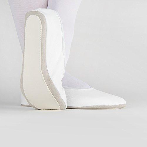 Rumpf Gymnastikschuh Kombisohle Ballettschläppchen Gymnastik Tanzen Leder weiß38