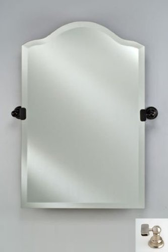 Afina Corporation RM735SN 24X35 Scallop Top Frameless Mirror with Tilt Brackets - Satin Nickel ()