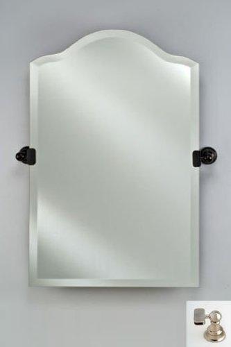 Afina Corporation RM735SN 24X35 Scallop Top Frameless Mirror with Tilt Brackets - Satin Nickel ()