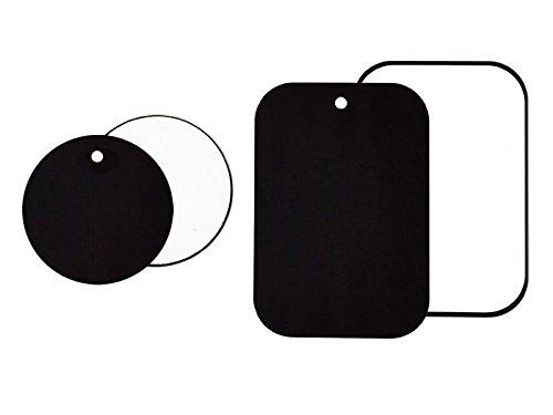 MYTK Metallplättchen Set mit 4 Stück selbstklebender 3M-Rückseite für KFZ Magnethalterungen je 2 rund und 2 rechteckig