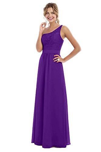 Beauté Des Femmes De Mariée Une Robes De Bal En Mousseline De Soie De Demoiselle D'honneur Épaule Violet Longue Soirée