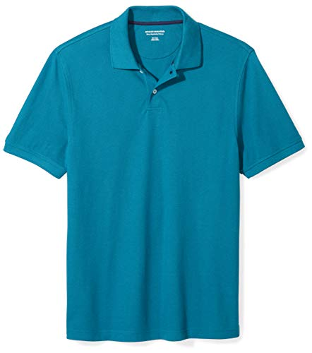 Mens Short Sleeve Polo Shirt - Amazon Essentials Men's Slim-Fit Cotton Pique Polo Shirt, Dark Teal, X-Large