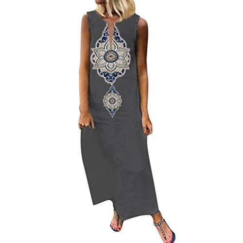 Goddessvan Women Printed Sleeveless Skirt Side Slit Bohemian Shift Maxi Dress Gray ()