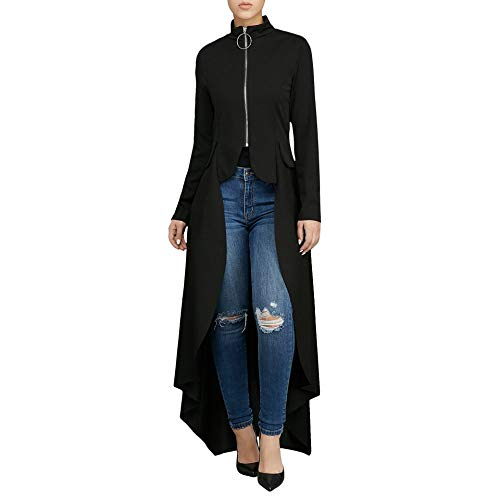 Women Long Dovetail Gothic Trench Coat Front Zipper Up Tailcoat Jacket Black XXL -