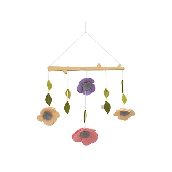 ED Ellen DeGeneres Painterly Floral – Nursery Ceiling Mobile with Natural Wood Arm, Pink, Cream, Lilac Felt Flowers & Sage Leaves, Lavender, Pink, Cream, Green