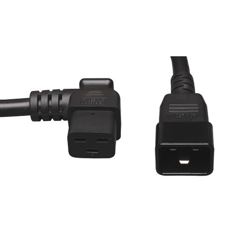 Tripp Lite Heavy-Duty Computer Power Extension Cord for Servers and Computers 20A, 12AWG (Left Angle IEC-320-C19 to IEC-320-C20) 2-ft.(P036-002-19LA)