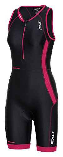 2XU Women's Perform Trisuit, Black/Cherry Pink, - Women Trisuit