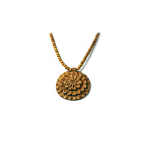 Terraacraft - Exquisite Hand carved Flower petal Wooden Pendant with Beads Necklace. Beautiful Neck Piece for all season and occasion