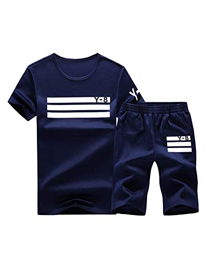 Lavnis Men's Casual Tracksuit Short Sleeve Running Jogging Athletic Sports Set Blue XL (Best Casual Outfits For Men)