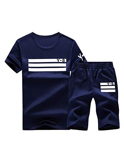 Lavnis Men's Casual Tracksuit Short Sleeve Running Jogging Athletic Sports Set Blue XL