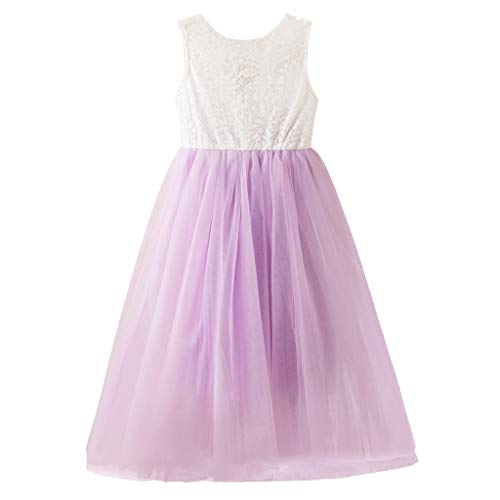 Toddler Baby Kids Girls Dress Casual Sleeveless Lace Patchwork Pleated Backless Tulle Princess Long Dresses Purple