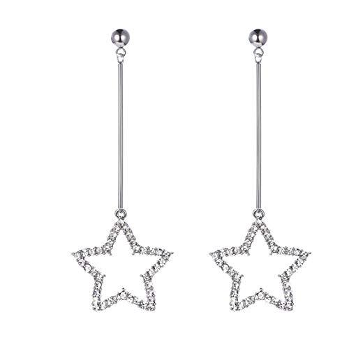 - Spiritlele Crystal Star Dangle Earrings Linear Drop Earrings For Women Girls